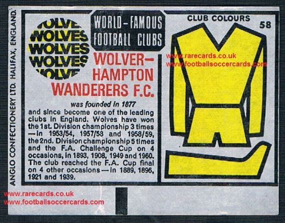 1970 Anglo Gum waxy paper insert World Famous Football Clubs Wolves